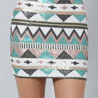Multicolor Geometric Sequined Bodycon Skirt
