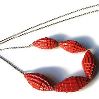 Red Hot Statement Necklace- Corrugated Cardboard, Unusual Jewelry, Anniversary Gift, Upcycled Jewellery