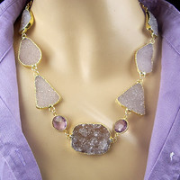 SALE - Druzy Statement Necklace Choker Lavender Crystal Gold Dipped Raw Stone Necklace