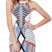 Apricot Geometric Pattern Printed Summer Sleeveless Mini A-line Halter Dress