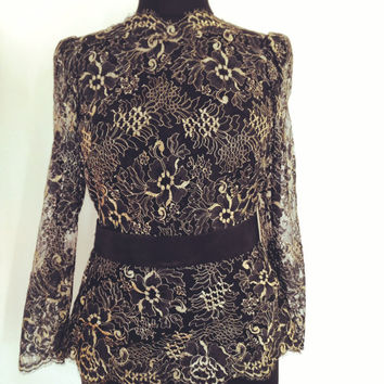 VİNTAGE 1980's  -  HAUTE COUTURE-  Open Back Navy Lace Fit and Flare Top - Deep V-Cut Vintage Style  Lace   Wedding Top