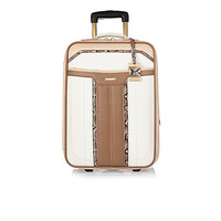 White panneled wheelie suitcase - make up bags / luggage - bags / purses - women