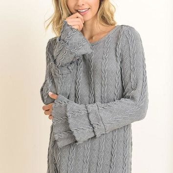 Ruffle Tier Sleeve Cable Knit Sweater - Gray