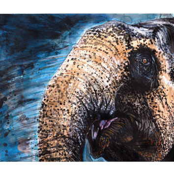 Elephant painting, 8x10, elephant decor, large wall art, nature art print, naturalist, animal painting, giclee, african decor, charity
