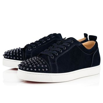 Christian Louboutin Cl 18s Louis Junior Spikes Flat Suede Marine/marine Metal Sneakers