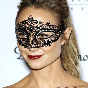 Black and Silver Rhinestone Metallic Masquerade Mask with Gem Accents