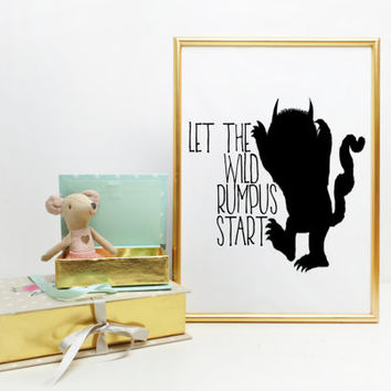Nursery Print,Let the wild rumpus start,Instant Download,Monster print,Nursery Decor,Nursery Printable Where the wild things are baby
