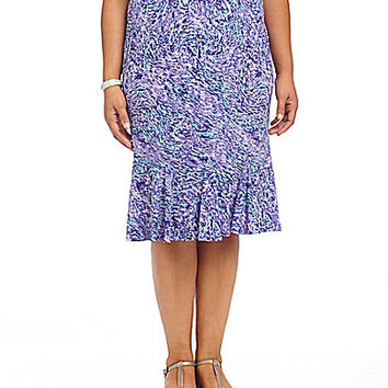 Allison Daley Plus Wave-Print Pull-On Flounce Skirt - Marble Wave