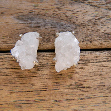 Rough Quartz Stud Earrings Sterling Silver Gemstone Slice White Clear Crystal Point Druzy Raw Uncut Big Natural Prong Huge Statement Jewelry