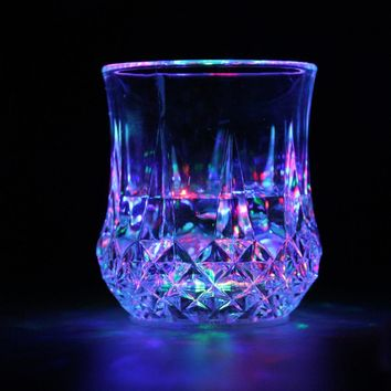 1Pc LED Flashing Glowing Water Liquid Activated Light-up Wine Glass Cup Mug Party
