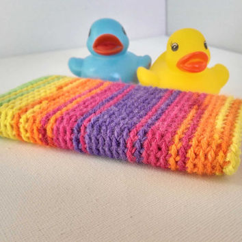 iPhone 5S Sleeve, Hand Crocheted, Multicoloured iPhone 5C Cosy, Rainbow Cell Phone Case, Pink and Purple Stripes, Scruffy Ducks Crochet