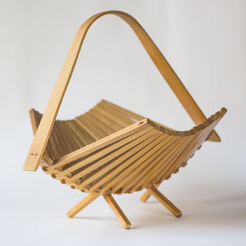 Soviet collapsible basket, wooden fruit basket, kitchen basket modern, vintage folding basket, good vintage condition basket Soviet