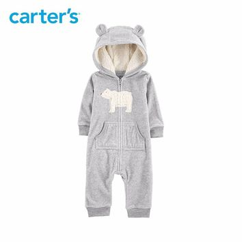 Carters baby jumpsuit Hooded fleece jumpsuits One-pieces rompers Baby girl clothes Newborn baby boy clothing 118I770