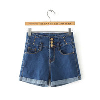 Women's Fashion Summer Stretch Slim Stylish Denim Shorts [6034227201]
