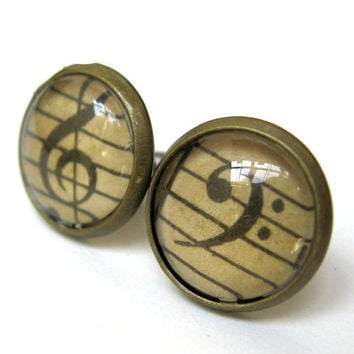 Vintage Sheet Music Earrings Treble and Bass Clef Tiny Brass Post Studs