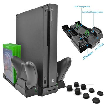 For Xbox one X ONEX Game Console Vertical Cooling Stand Cooler Fan Controller Charger with 2 HUB Port 6pcs Discs Storage 8 caps