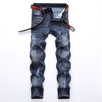 Stretch Ripped Holes Fashion Pants Denim Jeans [1567946637405]