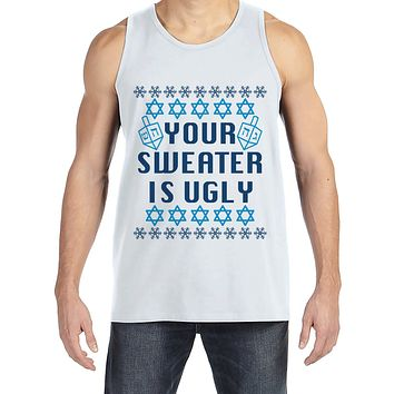 Ugly Hanukkah Sweater - Men's Funny Ugly Sweater White Tank Top - Funny Happy Hanukkah Outfit - Hanukkah Gift Idea - Your Sweater Is Ugly