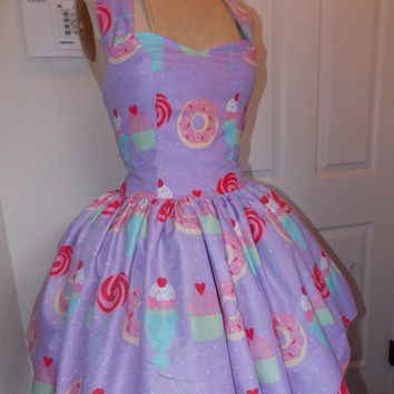 Custom Made to Order Sweet Tooth Donut Cupcake Sundae Cookie Geekery Pin Up Mini Dress