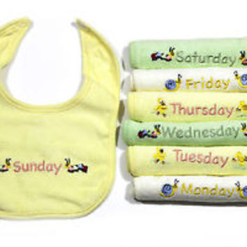 Cute Animial & Bugs 7 Day of the Wk / Monday Thru Sunday Soft Cotton Baby's Bib