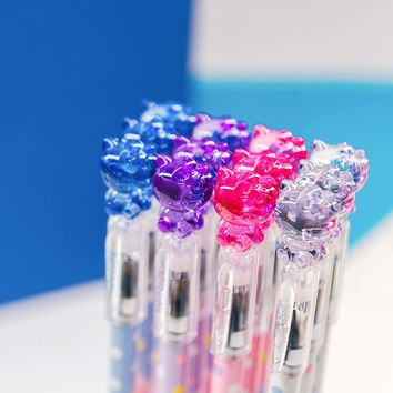 12 PCS/LOT Kawaii Hello Kitty Crystal Cap Gel Pen Writing Signing Pen School Office Supply Student Stationery Prize Gift