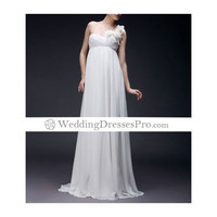 One Shoulder Floor-length Chiffon Wedding Dress with Flower on Strap(TTCLYZ231) [TTCLYZ231] - $154.99 : wedding fashion, wedding dress, bridal dresses, wedding shoes