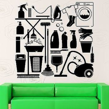 Wall Decal Cleaning Laundry Room Washing Housewife Housekeeper Vinyl Unique Gift (ig2546)