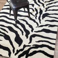 Rugs USA Safari Hand Made Wool Zebra Print Black Rug