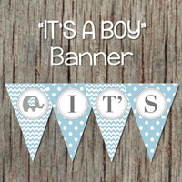 Elephant It's a Boy Baby Shower Printable Banner Powder Blue Grey Pennant Banner INSTANT DOWNLOAD DIY 063