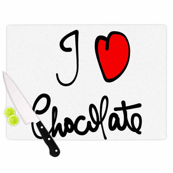 "Gabriela Fuente ""I Love Chocolate"" Food Typography Cutting Board"