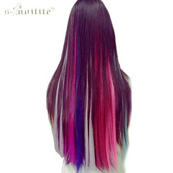 PEAP78W SNOILITE Long Straight Women Synthetic Cosplay Clip in Hair Extensions Rainbow Colors one piece Hairpiece purple pink red blue