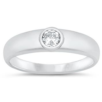 Clear CZ Oval Round Cutout Ring New .925 Sterling Silver Bubble Band Sizes 5-10