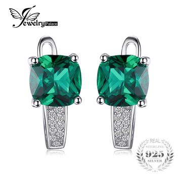 JewelryPalace Cushion 3.1ct Created Green Emerald Clip Earrings 100% Real 925 Sterling Silver Charms Fine Jewelry For Women 2017