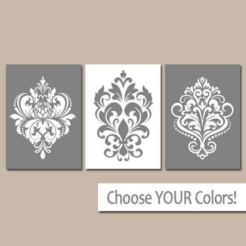 GRAY Wall Art, Gray Bedroom Pictures, CANVAS or Prints, White Gray Bathroom Decor, Damask Wall Art, Home Decor, Wall Hanging, Set of 3