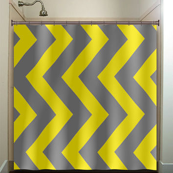 extra large vertical yellow gray chevron shower curtain bathroom decor fabric kids bath white black custom duvet cover rug mat window