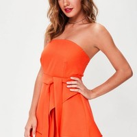 Missguided - Orange Bandeau Tie Waist Skort Playsuit