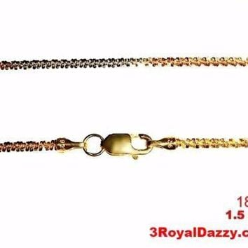 18k white yellow & rose gold layered on 925 Sterling Silver Rock Chain 1.5mm 18""