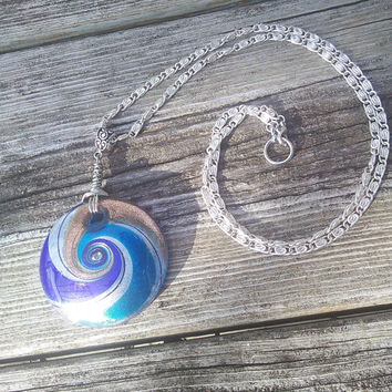 Blown Glass Pendant, Abstract Swirl Pendant, Blown Glass Jewelry, Hippie Necklace, Boho Necklace, Gypsy necklace, Festival necklace, teens