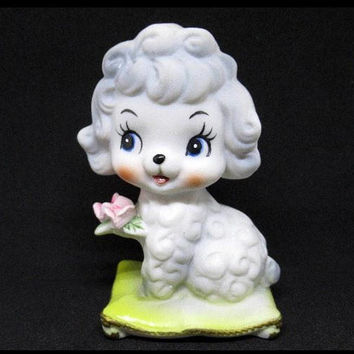 Vintage Enesco White Poodle Figurine / Bisque Miniature Bone China / Hand Painted / Made in Japan / Anthropomorphic / 1950s Kitsch