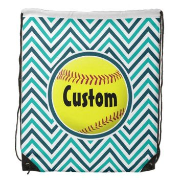 Cute Aqua Teal and Navy Blue Chevron Softball Bag