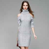High Neck Bear Shoulder Half Sleeves Cable Long Knit Sweater