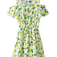 White Lemon Print Pleated Mini Dress
