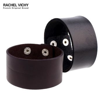 New Cool Braided Brown Black Rivel Genuine Leather Bracelets & Bangles Punk Wide Cuff Bracelets for Women Men Jewelry P01831