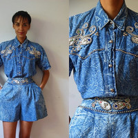 Vtg 2 Piece Studded Jeweled Acid Wash Buttoned Shirt and High Waist Shorts