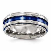 Men's Wedding Band Titanium Grooved Blue Anodized 7.5mm Band