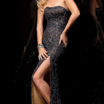 Strapless Floor Length Sequin Dress by Scala