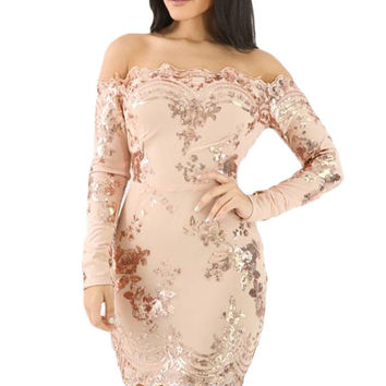 Apricot Scalloped Trim Off Shoulder Sequin Floral Dress