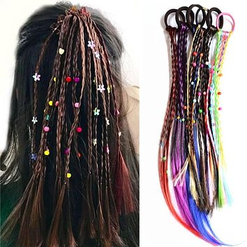 3 Pcs/lot Wig Beads Elastic Hair ties Girls' Ponytail Holder Women Colored Hair ties Accessories PT116 Dropshipping