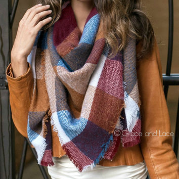 Grace & Lace Blanket Scarf/Toggle Poncho™ in Color Block
