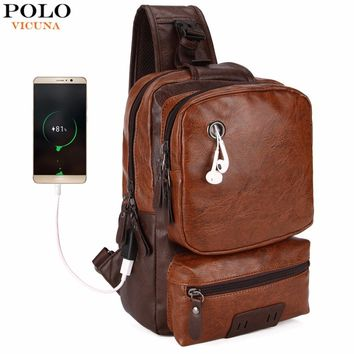 VICUNA POLO Anti-theft External USB Charge Messenger Bag Patchwork Men Crossbody Bag Large Capacity Casual Travel Man Bag Hot